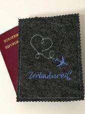 Reisepasshülle*Reisepassetui*Passporthülle*Filz bestickt 1