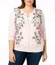 Charter Club 6688 Plus Size 0x Pink Printed Cardigan Sweater Lace-panel cef740216