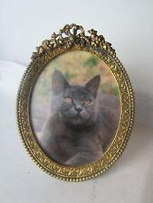 ancien cadre porte photo a poser louis XVI medaillon bronze laiton ovale 19e