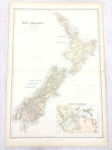 1888 Antique Map of New Zealand North South Island Auckland 19th C Blackie & Son