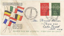 Netherlands 1959 First Day Cover Europa #379-80 to Illinois USA Cachet - Scarce