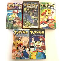 Lot of 5 Pokemon TV Show VHS Tapes Red Yellow Gold Box Johto Journeys Spinarak