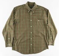 Orvis Mens Large Long Sleeve Button Down Shirt Plaid Green Orange Cotton