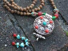 Vintage Handmade Nepalese Wenge wood Prayer box Locket necklace Unique gift
