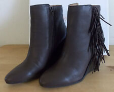 NIB See by Chloe Leather Epona Fringe Wedge Ankle Boot Dark Brown Size 38 $410