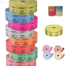 Raffle Tickets 4 Rolls Of 2000 Double Tickets 4 Different Random Colors New