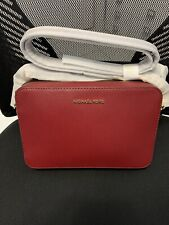 Michael Kors MK Jet Set Ladies Large Maroon Leather Crossbody NWT