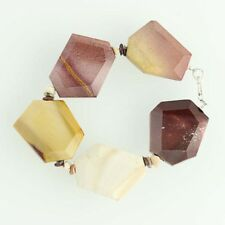 """New Mookaite Beaded Statement Bracelet - Sterling Silver 7"""" Multi-Color"""