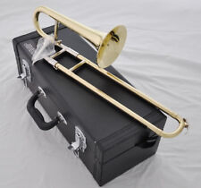 Top JINBAO Gold Bb Slide Trumpet horn Mini Trombone horn new with leathercase