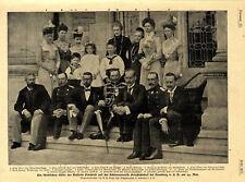 Gäste der Kaiserin Friedrich auf der Schlossterrasse Friedrichshof von 1900