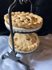 Longaberger Miniature 2 Pie Wrought Iron Stand, 2 Pie Plates & 2 PIES!
