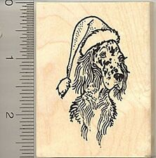 English Setter in a Santa hat Rubber Stamp WM H7611 dog