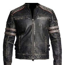 Men's Vintage Cafe Racer Black Distressed Retro Motorcycle Leather Jacket