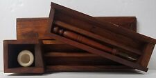 Vintage Antique WOOD Dip Ink Pen WRITING case BOX set Made in India