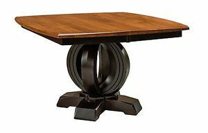 Amish Modern Solid Wood Pedestal Dining Table Round Base Square Top Saratoga