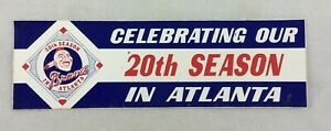 "MLB 1986 Atlanta Braves ""Celebrating Our 20th Season in Atlanta"" Bumper Sticker"