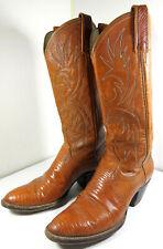 DAN POST Rattlesnake Snake Leather Western Cowboy Boots Orange Size 6.5 Wide