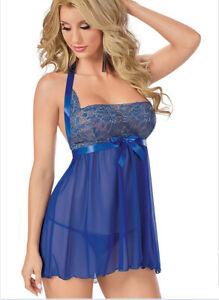 Sexy Lingerie Women's Underwear Babydoll Sleepwear Top Grade Blue Dress G-string