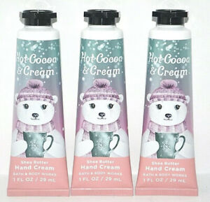 3 BATH & BODY WORKS HOT COCOA & CREAM SHEA BUTTER HAND CREAM LOTION 1OZ TRAVEL