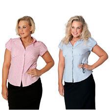 New Ladies Shirt Plus Size Womens Stripe Print Collar Formal Office Nouvelle