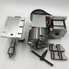 Rotary Axis Tailstock 4Jaw Lathe Chuck 100mm 6:1 Nema23 Stepper Motor 4th Axis