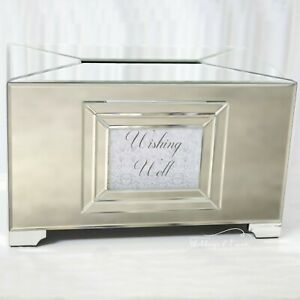 WISHING WELL Silver Rose Gold Clear Mirror Acrylic Engagement Wedding Card Box