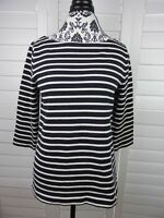 Ann Taylor Loft Knit Blouse Womens Medium Black Striped Shirt Casual Top Ladies