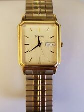 BULOVA MEN'S GOLD TONE STAINLESS STEEL WATCH WITH EXPANSION BAND 97C28