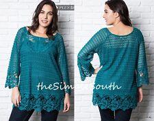 New UMGEE Teal Semi Sheer Lace Crochet Open Knit Long Shift Tunic Top Blouse 1XL