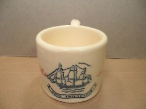 Vtg OLD SPICE Shaving Mug Blue Ship Friendship Ceramic HULL POTTERY Shulton RARE