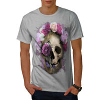 Wellcoda Skull Flower Rose Mens T-shirt, Angel Head Graphic Design Printed Tee