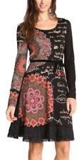 """Desigual robe femmes """"Saray"""" d' un Ourlet En Dentelle, Noir & multicolore, taille M, une encolure échancrée, full SL"""