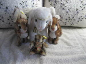 Steiff Lot Lamb, Bunnies and Beaver