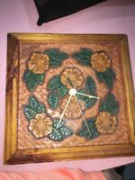 Wooden Flower Antique Clock Rare
