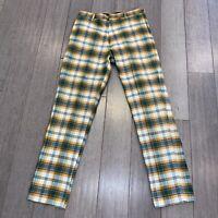 Vtg 60s 70s Pants Mens 30 29.5 PUT ON SHOP Sears Plaid Disco Leisure Suit Hippie