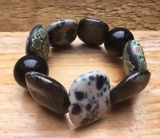 Vintage Style Black Bead Bracelet/Retro/Bobble/Hippy/Boho/Chunky Resin Floral Lk