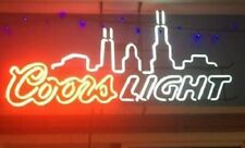 "New Coors Chicago City Neon Light Sign 24""x20"" Beer Bar Real Glass"