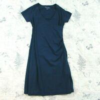Soft Surroundings Faux Wrap Dress Navy Blue raglan short slv Stretch Ruched PXS