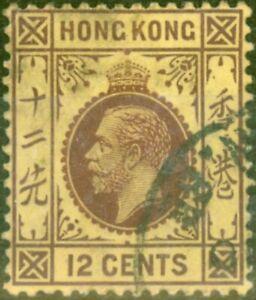 Hong Kong 1914 12c White Back SG106a Fine Used