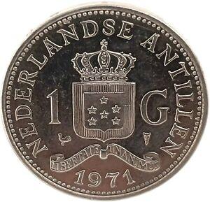 1971 Nederlands Antillen 1 GULDEN -Juliana Koningin Der Nederlanden Coin. KM# 12
