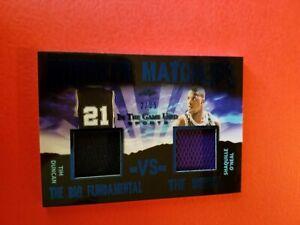 SHAQ SHAQUILLE O'NEAL TIM DUNCAN GAME USED JERSEY CARD #d2/35 LEAF ITG MONIKER