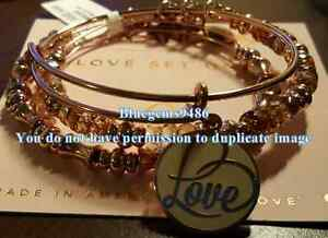 Alex and Ani Hooked On You Love Set of 3 Shiny Rose Gold - Rare