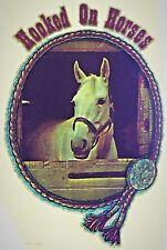 Original Vintage Hooked On Horses Iron On Transfer White Horse