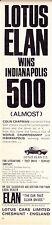 1966 LOTUS ELAN S.2  ~  GREAT ORIGINAL PRINT AD