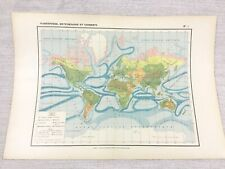 1888 Antique World Map Ocean Currents Oceanography Meteorological FRENCH 19th C