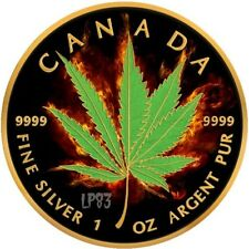 2017 1 Oz Silver BURNING MARIJUANA HYBRID Maple Leaf Coin W/ RUTHENIUM, 24K GOLD