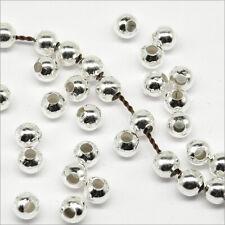 Lot de 100 Perles Rondes en Métal 4mm Argenté