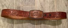 Largemouth Bass Tooled Leather Belt Fish Horse  Belted Distressed Brown 32  Vtg