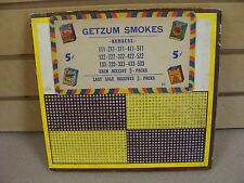 Vintage Punch Board Game Getzum Smokes 5 cent game Serial #9222 Free Shipping!