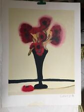 BLACK VASE w/RED FLOWERS - LOUISE HOUDE- CANADIAN ARTIST- SIGNED SERIGRAPH - A.P